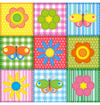 Patchwork with butterflies and flowers vector image vector image