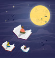 people flying in books night for reading concept vector image