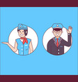 pilot or steward and stewardess icons vector image vector image