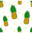 pinaplle seamless pattern tropical fruit summer vector image