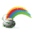 Pot with gold and rainbow vector image vector image