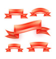 realistic detailed red ribbon scroll set vector image