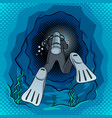 scuba diver dives into the cave pop art vector image