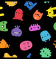 seamless pattern with funny doodle monsters vector image
