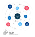 seo colored circle concept with simple icons vector image vector image