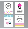 set greeting or journaling cards with cupcakes vector image