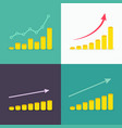 set growth graphs with stacks coins vector image