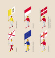 set of 3d isometric people with flags of europe vector image vector image