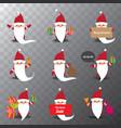 set of christmas cartoon santa claus isolated on vector image