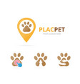 set of paw logo combination pet and gps locator vector image vector image