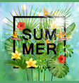 summer composition with leaves and flowers vector image