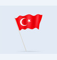 turkey flag on flagpole waving in wind vector image