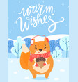 warm wishes fox with acorn in winter woods card vector image vector image
