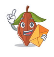 with envelope cacao bean character cartoon vector image vector image