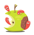 Worm eaten rotten apple vector image