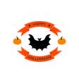 Halloween logo sign with bat vector image