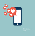 mobile phone love icon vector image