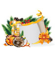 paper scroll with yellow bow candles and vector image