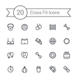 Set of crossfit gym equipment line icons of vector image