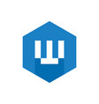 alphabet w logo blue hexagonal symbol vector image vector image