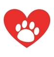 animal footprint in heart isolated icon design vector image vector image
