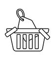 basket buy online blank price tag outline vector image vector image