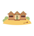 beach house for water activity with boat oars flat vector image