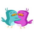 blue and purple bird in love on white background vector image