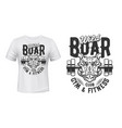 boar print t-shirt mockup gym fitness sport club vector image