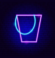 bucket neon sign vector image vector image