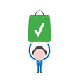 businessman character holding up green shopping vector image vector image