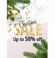 christmas sale banner marble and gold vector image vector image