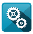 Cog - Gear Blue Rounded Square Icon vector image
