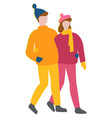 couple cuddling walking together man and woman vector image vector image