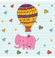 Cute hello card with hot air balloon and elephant vector image