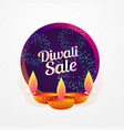 diwali festival sale poster design with diya and vector image vector image