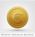 euro symbol on round coin with drop shadow vector image