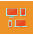 Flat computer and mobile devices set over orange vector image vector image