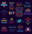 friend lettering bff friendship card vector image vector image