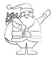 funny santa claus with gifts cartoon vector image