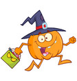 funny witch pumpkin with a halloween candy basket vector image vector image