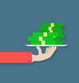 hand holding money on plate vector image vector image