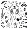 headphones and electric guitar sketches icons vector image vector image