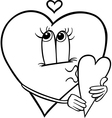 heart with valentine card coloring page vector image vector image