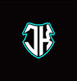 j k initial logo design with a shield shape vector image vector image