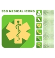 Life Star Icon and Medical Longshadow Icon Set vector image vector image