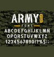 military stencil font on camouflage background vector image vector image