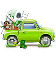 pickup truck with garden accessories vector image vector image