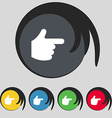 pointing hand icon sign Symbol on five colored vector image vector image