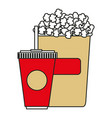 pop corn with soda isolated icon vector image vector image